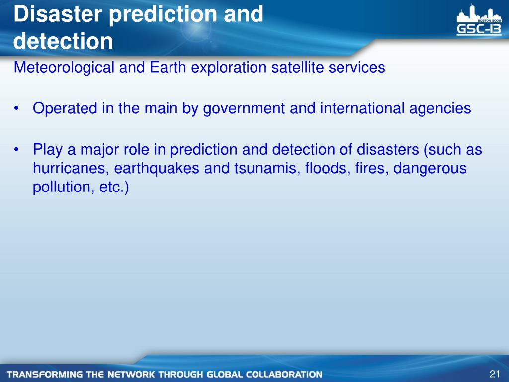 Disaster prediction and detection