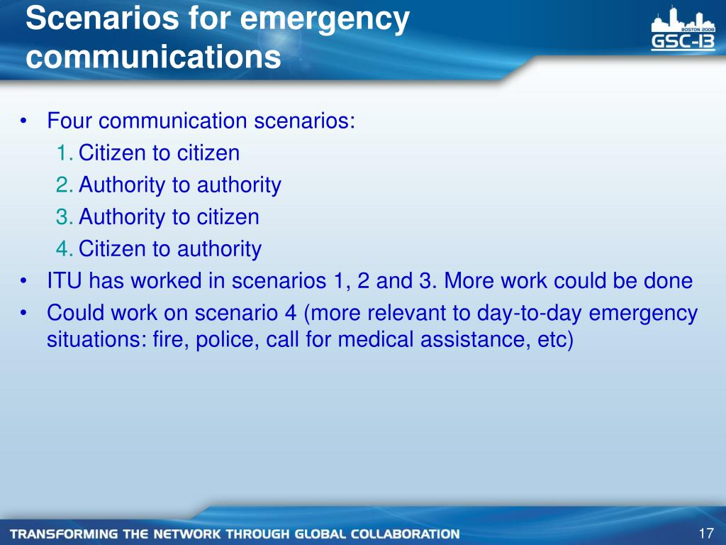 Scenarios for emergency communications