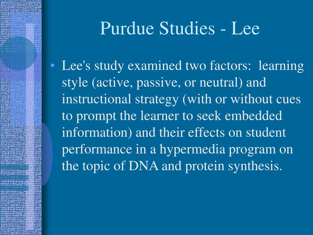Purdue Studies - Lee