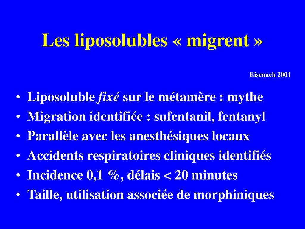 Les liposolubles «migrent»
