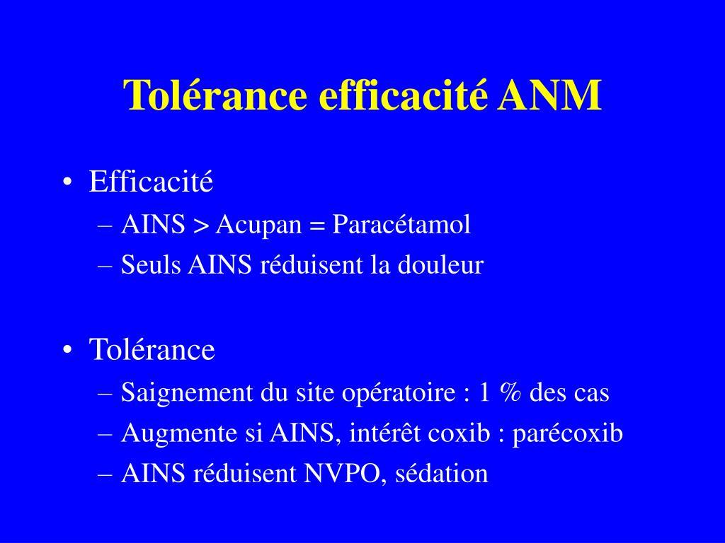 Tolérance efficacité ANM