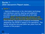 barrier 1 2003 giovannini report states