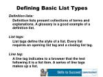 defining basic list types48