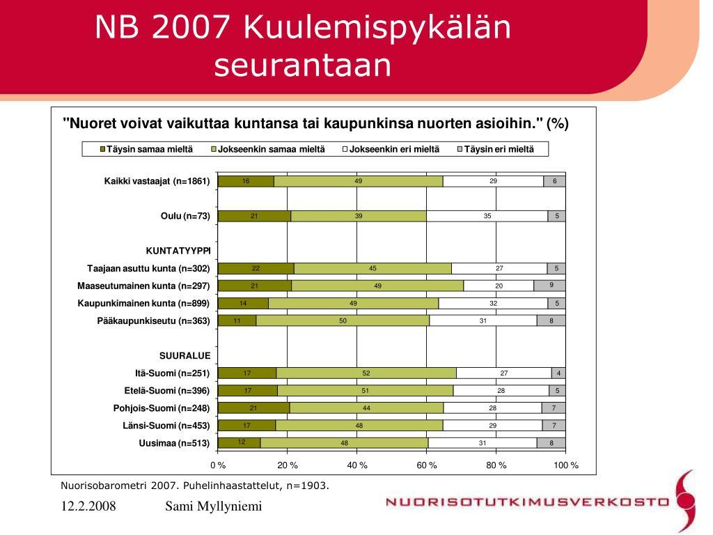 NB 2007 Kuulemispykälän seurantaan
