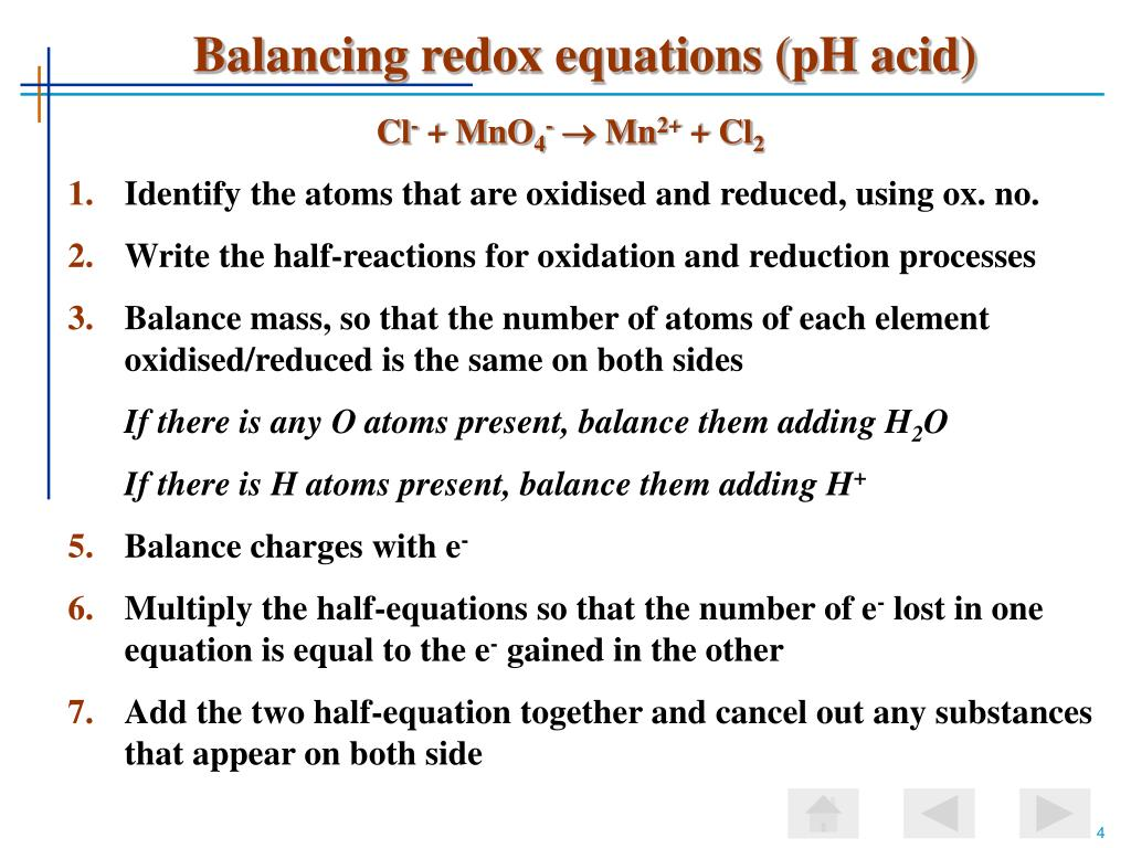 Balancing redox equations (pH acid)