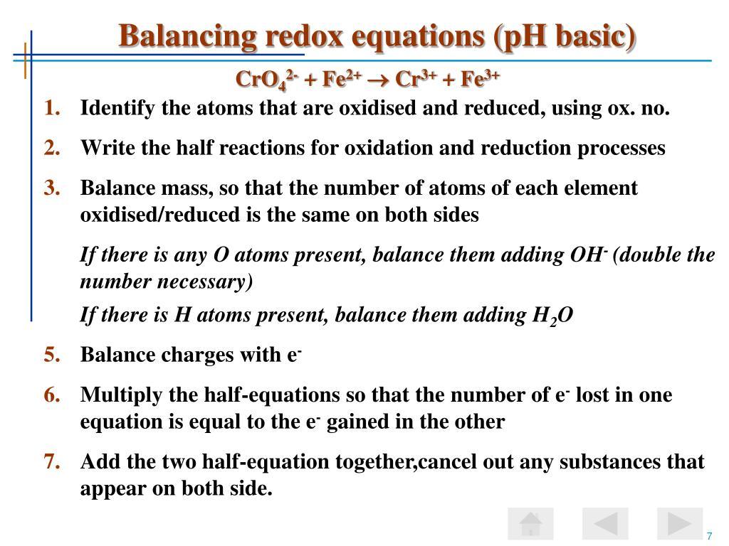 Balancing redox equations (pH basic)
