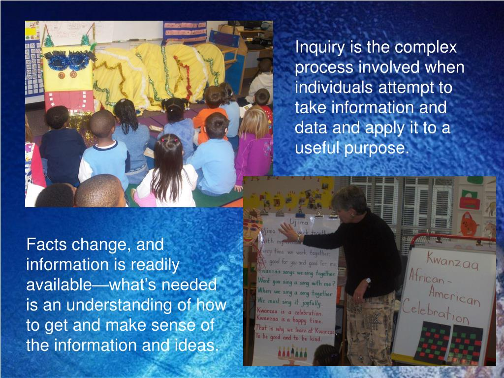 Inquiry is the complex process involved when individuals attempt to take information and data and apply it to a useful purpose.