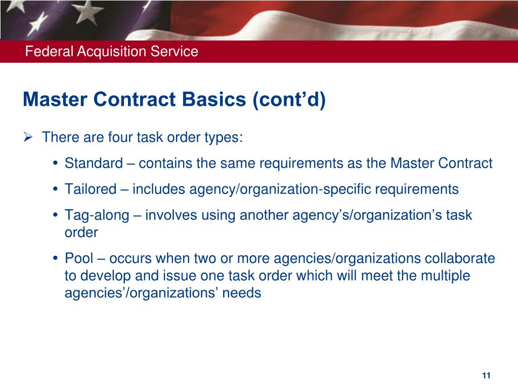 Master Contract Basics (cont'd)