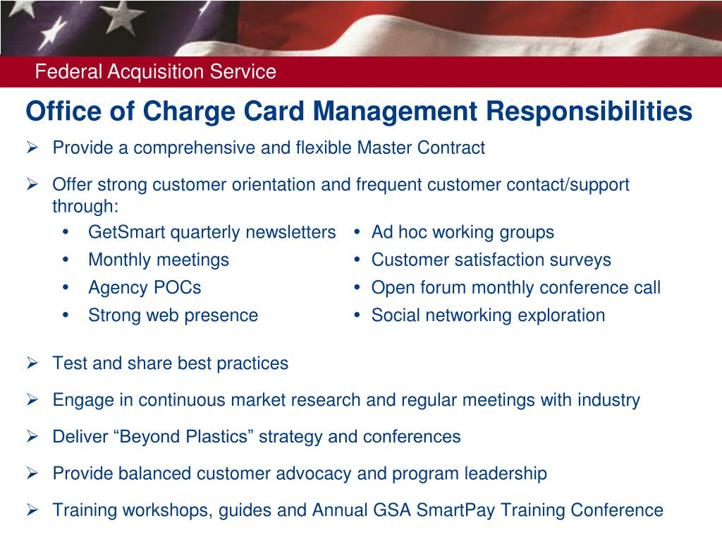 Office of Charge Card Management Responsibilities