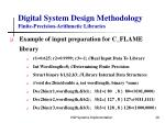 digital system design methodology finite precision arithmetic libraries20