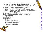 non capital equipment occ