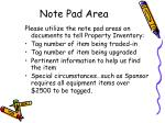 note pad area