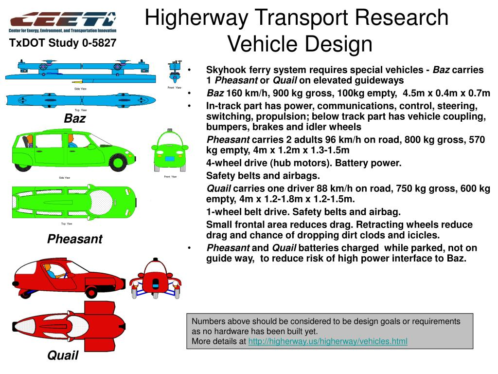higherway transport research vehicle design