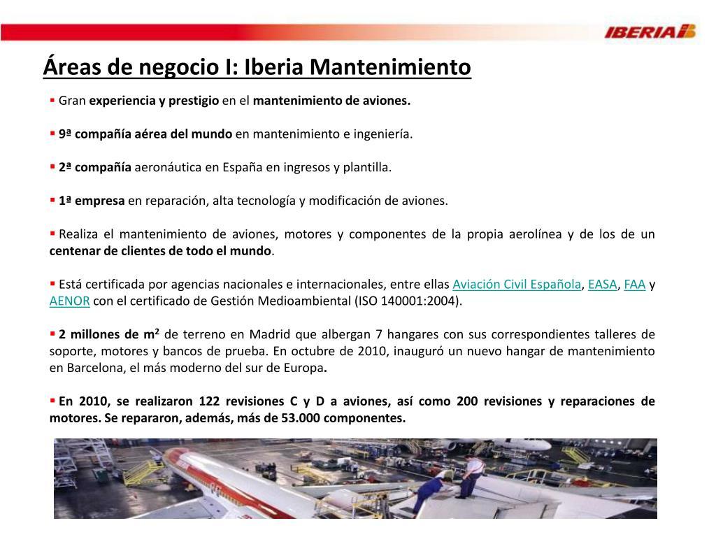 Áreas de negocio I: Iberia Mantenimiento