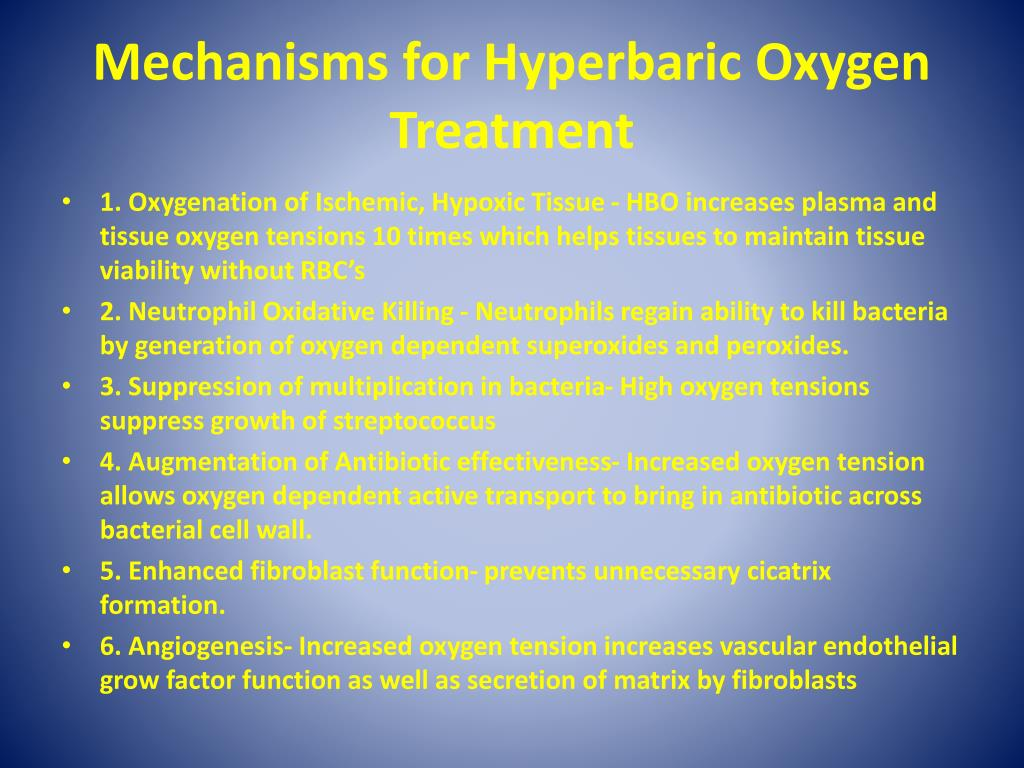 Ppt treatment of periocular necrotizing fasciitis and for Table 6 hyperbaric treatment