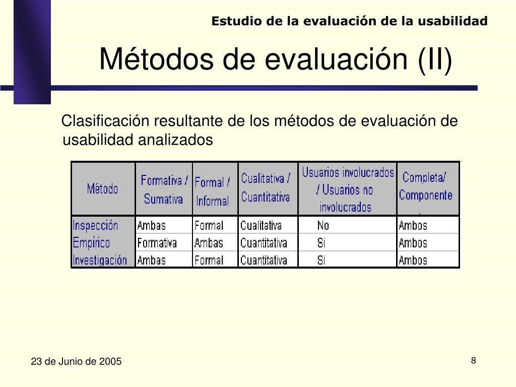 Clasificación resultante de los métodos de evaluación de usabilidad analizados
