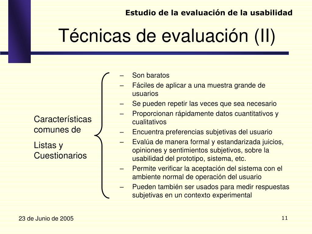 Estudio de la evaluación de la usabilidad