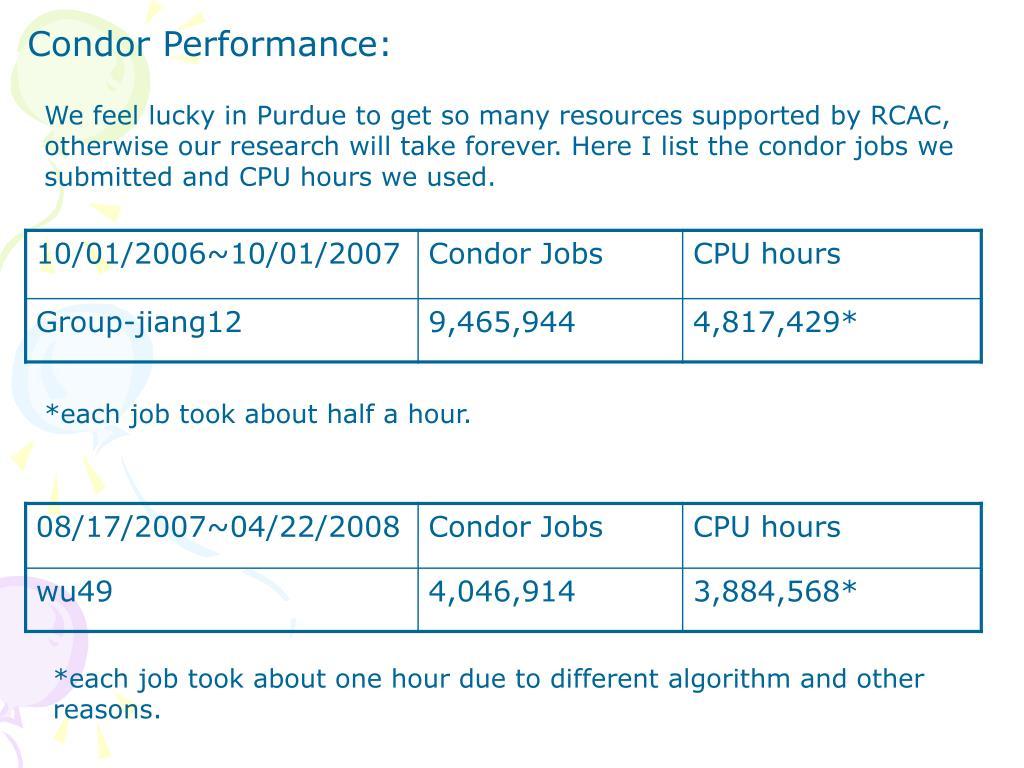 Condor Performance: