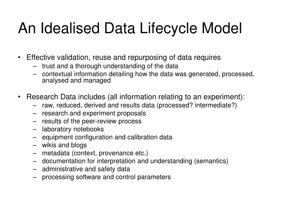 An Idealised Data Lifecycle Model