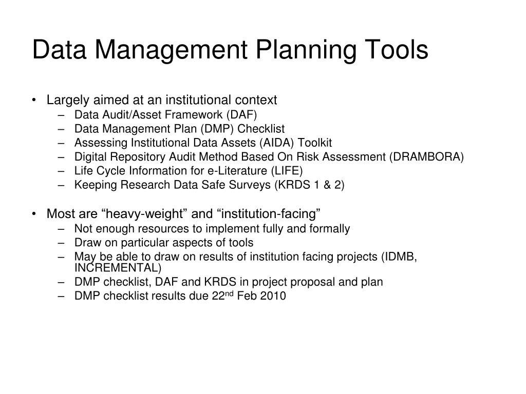 Data Management Planning Tools