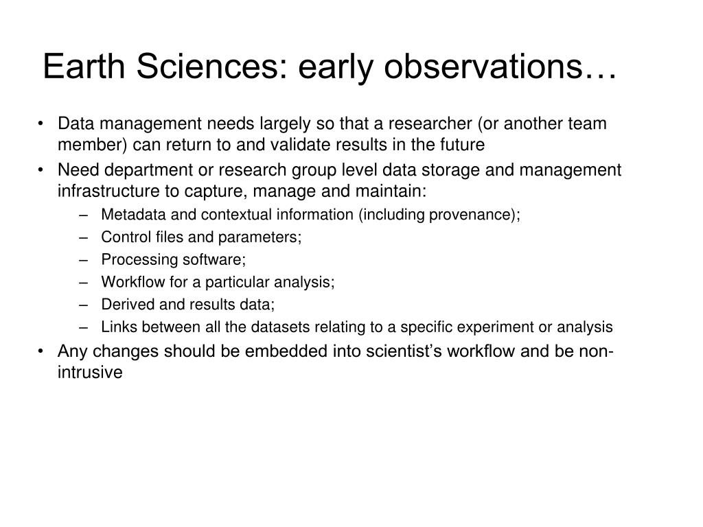 Earth Sciences: early observations…