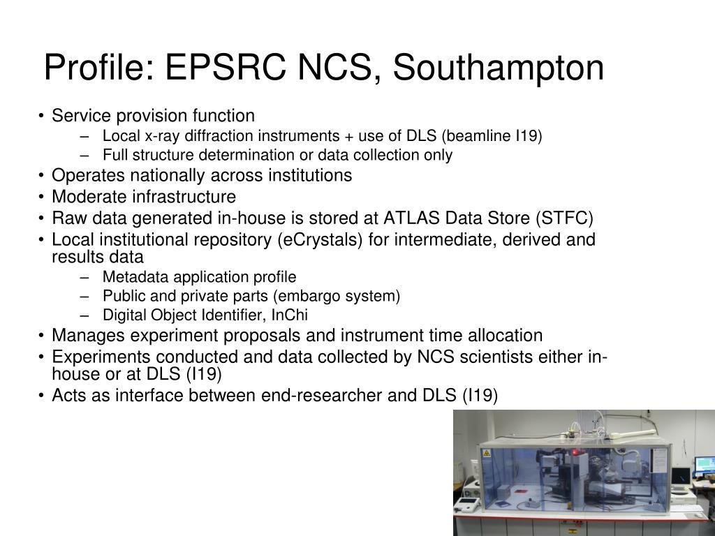 Profile: EPSRC NCS, Southampton