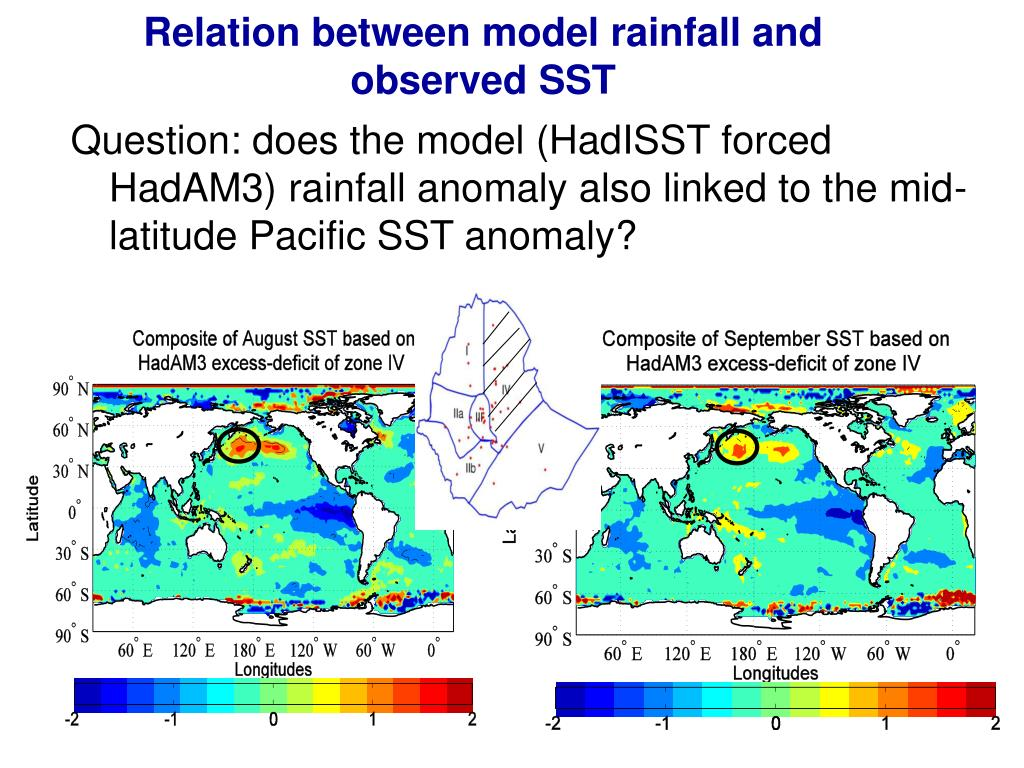 Relation between model rainfall and observed SST