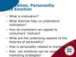 motivation personality and emotion