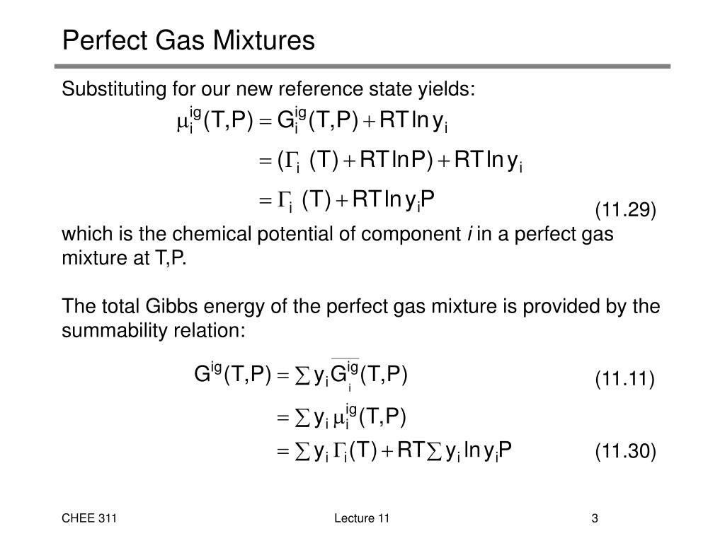 Perfect Gas Mixtures