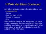 hipaa identifiers continued