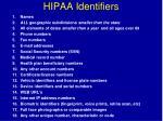 hipaa identifiers