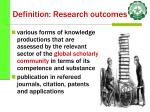 definition research outcomes