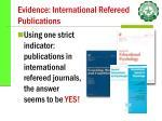 evidence international refereed publications