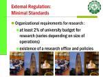 external regulation minimal standards