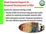 weak external support for research development in heis