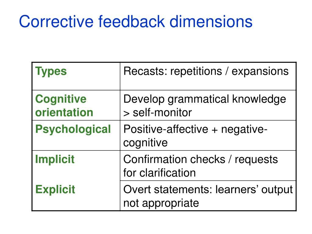 Corrective feedback dimensions