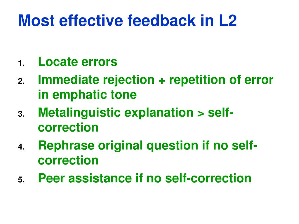 Most effective feedback in L2