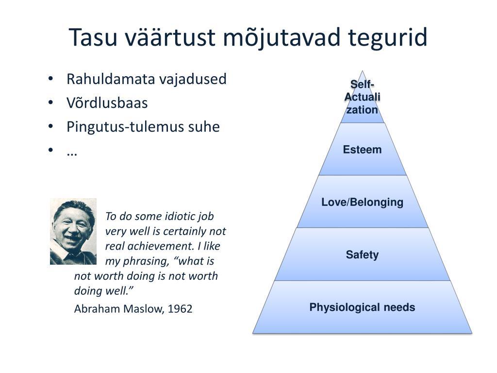 Tasu väärtust mõjutavad tegurid
