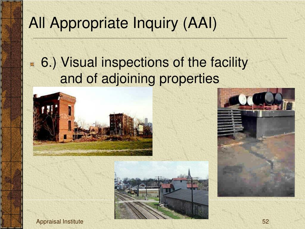 6.) Visual inspections of the facility