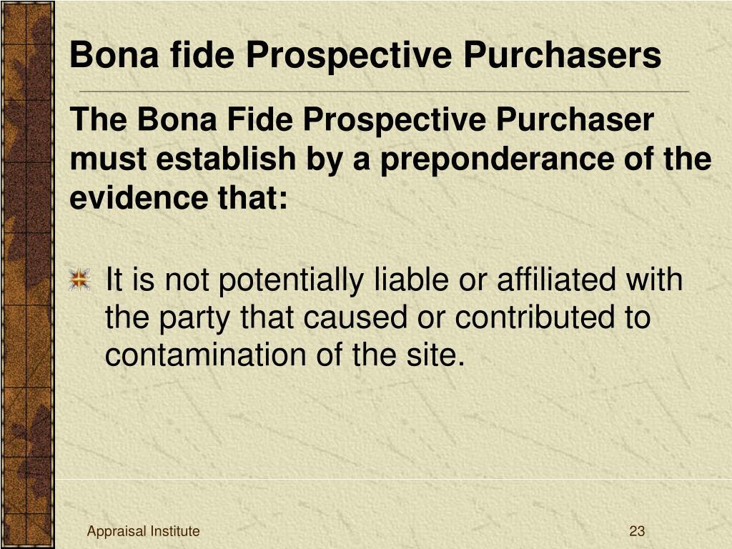 Bona fide Prospective Purchasers