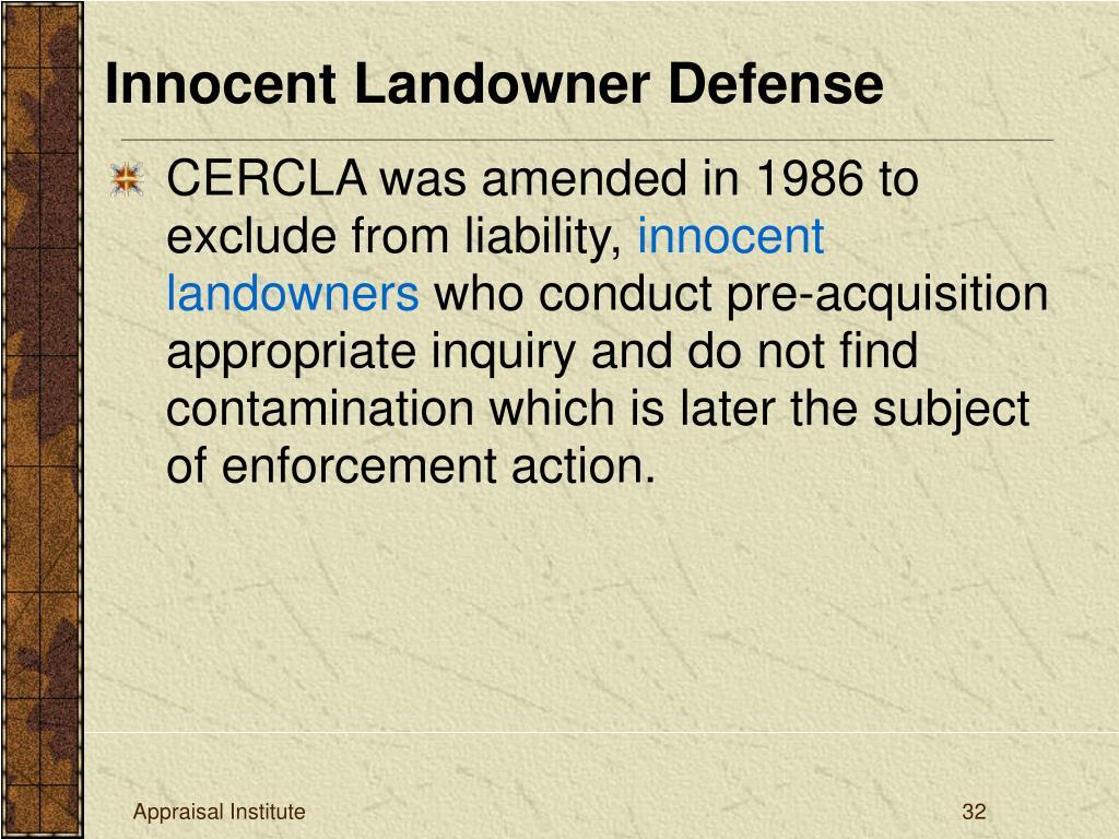 Innocent Landowner Defense