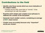 contributions to the field