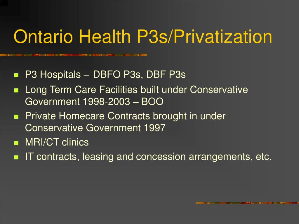 Ontario Health P3s/Privatization