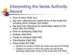 interpreting the series authority record