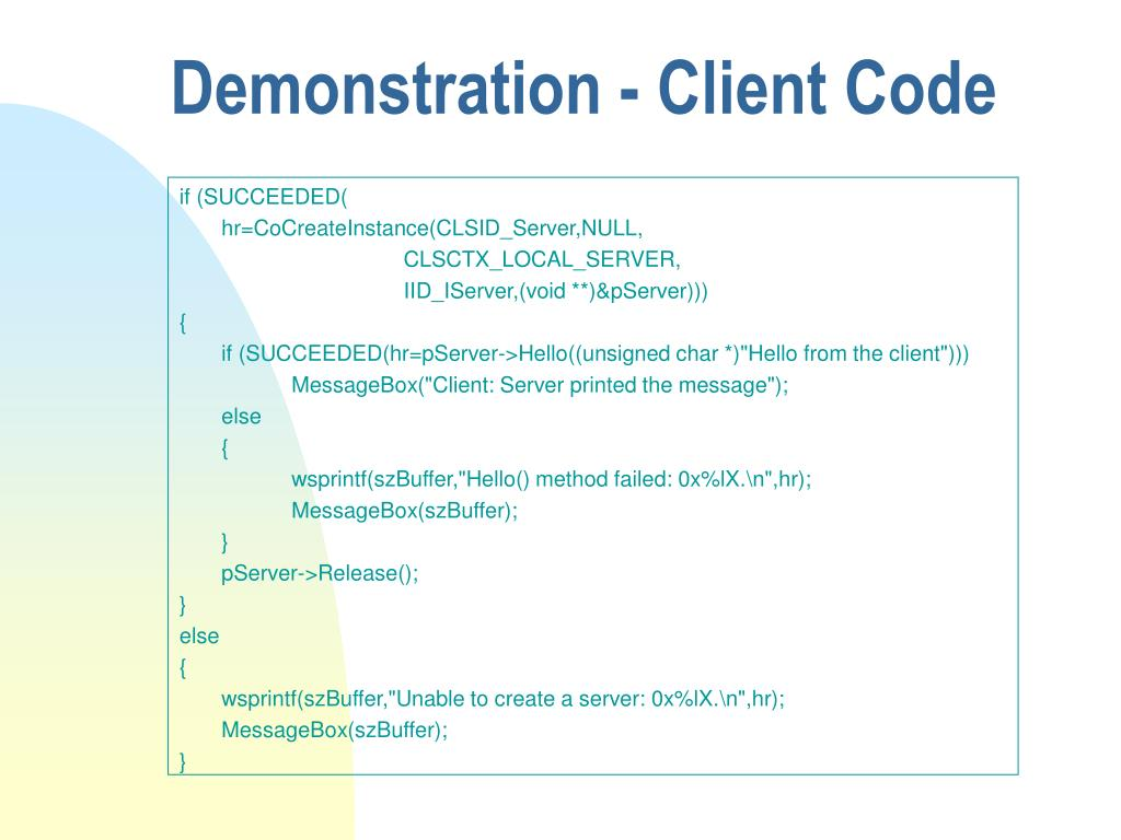 Demonstration - Client Code