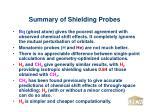 summary of shielding probes
