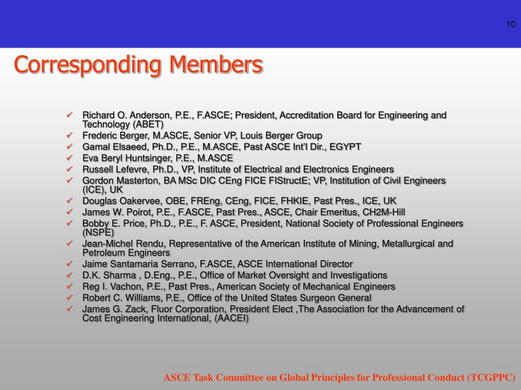 Corresponding Members