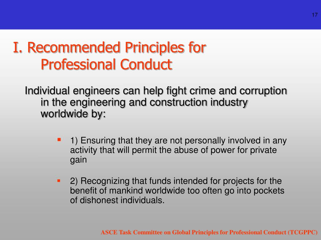 I. Recommended Principles for Professional Conduct