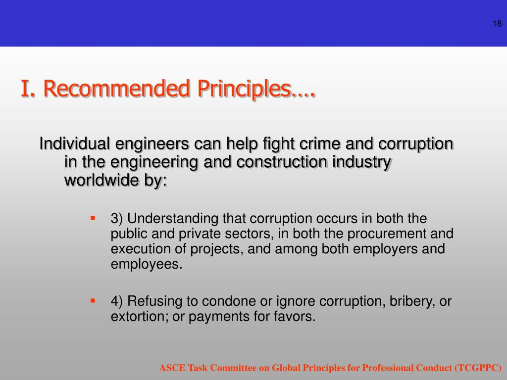 I. Recommended Principles….