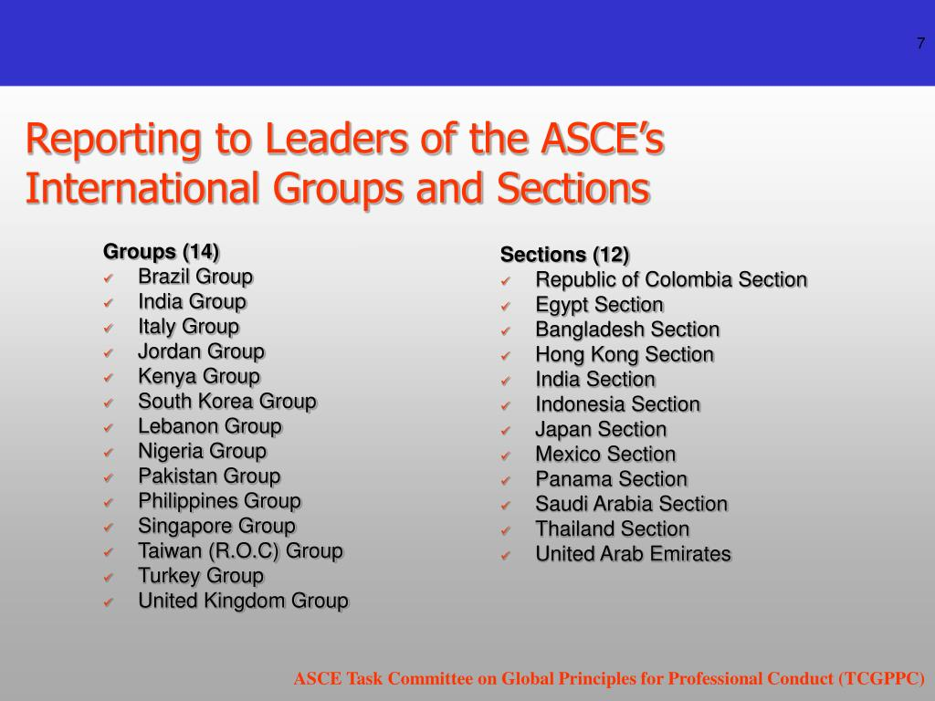 Reporting to Leaders of the ASCE's International Groups and Sections